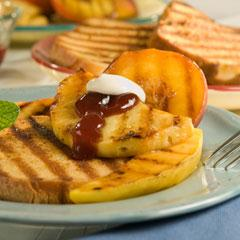 Grilled Fruit with Spicy Raspberry Sauce