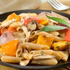 Pasta with Roasted Harvest Vegetables & Chicken