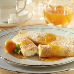 Luscious Cheese Crepes with Apricot Sauce