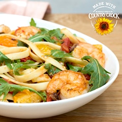 Shrimp Scampi Fettuccine with Arugula & Heirloom Tomatoes