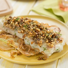 Walnut-Crusted Halibut over Sauteed Fennel