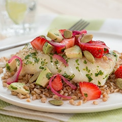 Cod with Strawberry-Avocado Salsa & Wheat Berries