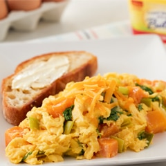 Fluffy Scrambled Eggs with Butternut Squash & Kale