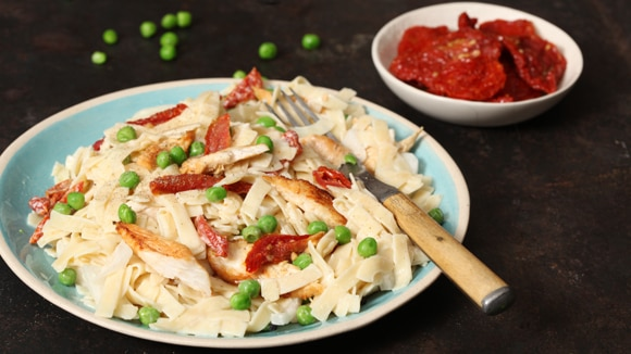 Chicken Alfredo with Sun-Dried Tomatoes