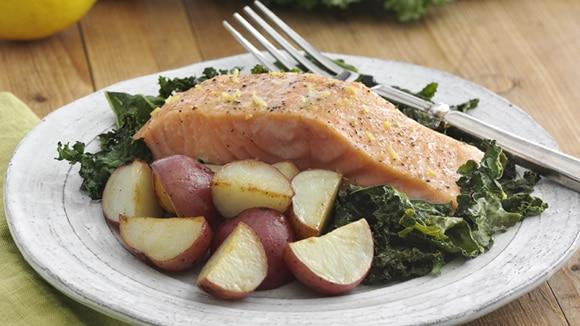 Lemony Roasted Salmon with Potatoes and Kale