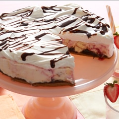 Pastel helado de queso-fresa-y-ganache