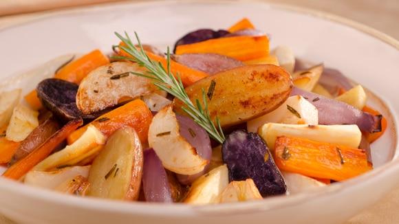 Garlic & Rosemary Roasted Root Vegetables
