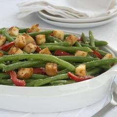 Caesar Green Bean Casserole with Buttery Croutons
