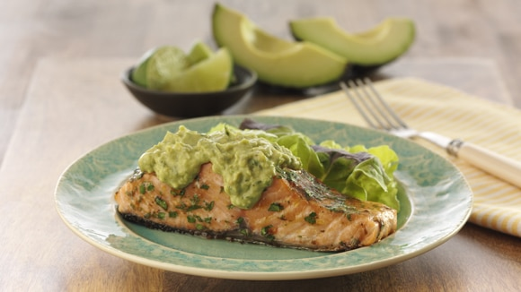 Salmon with Creamy Avocado Dressing