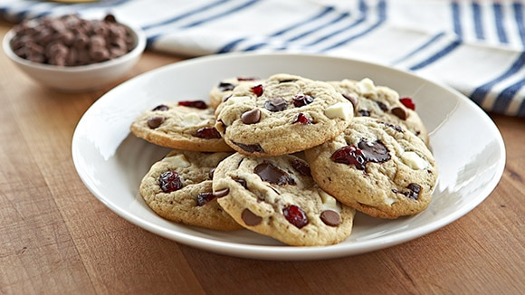 Becel Anything Goes Cookie Dough Triple Chocolate Cherry Cookies