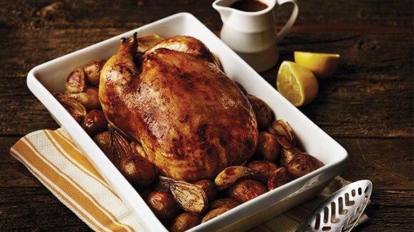 Lemon Roast Chicken with Potatoes & Shallots