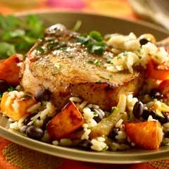 Cilantro Pork with Sweet Potato Rice