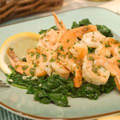Shrimp Scampi with Sauteed Spinach