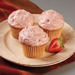 Strawberry Cream Frosted Cupcakes